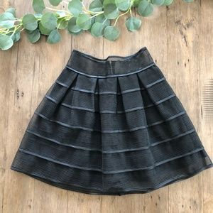 Luxxel | Black Striped Sheer Flare Skirt